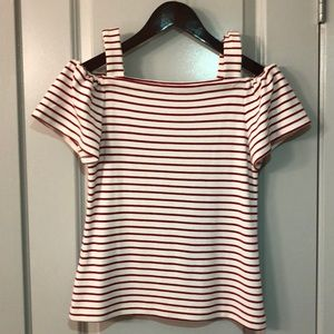 Off the shoulder red and white striped top, XSP